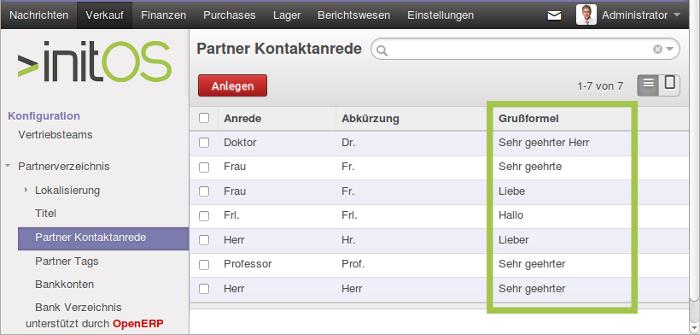 Screenshot von der Listenansicht Partner Kontaktanrede