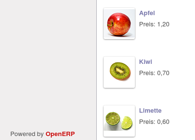 The example products, apple, kiwi and lime, have been imported.